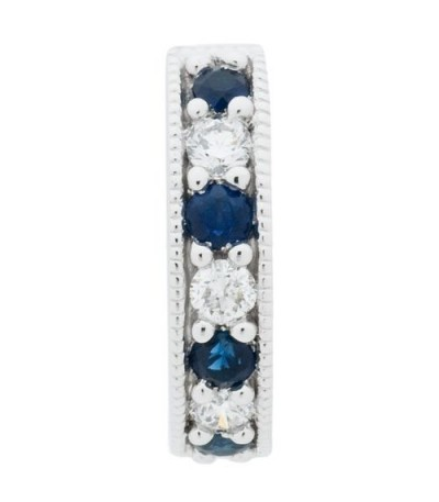 0.42 Carat Round Cut Sapphire and Diamond Earrings 18Kt White Gold