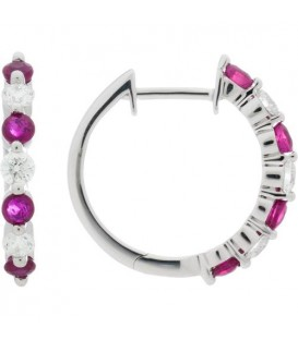 Earrings - 1.16 Carat Round Cut Ruby and Diamond Hoop Earrings 18Kt White Gold