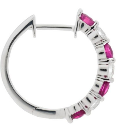 1.16 Carat Round Cut Ruby and Diamond Hoop Earrings 18Kt White Gold