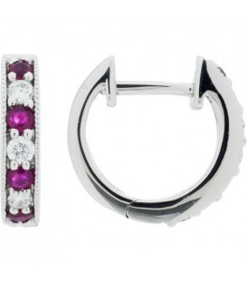 Earrings - 0.51 Carat Round Cut Ruby and Diamond Hoop Earrings 18Kt White Gold