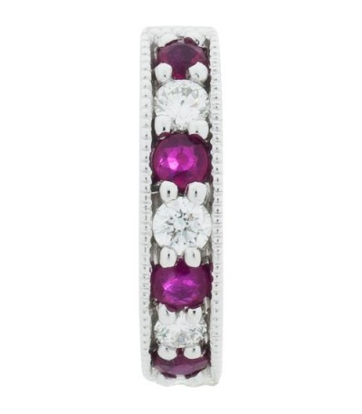 0.51 Carat Round Cut Ruby and Diamond Hoop Earrings 18Kt White Gold