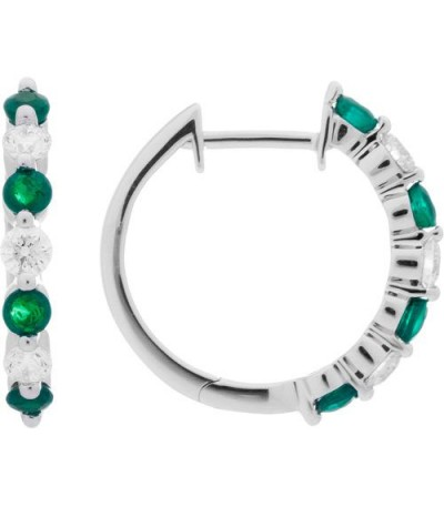 Earrings - 0.93 Carat Round Cut Emerald and Diamond Hoop Earrings 18Kt White Gold