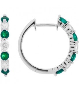 More about 0.93 Carat Round Cut Emerald and Diamond Hoop Earrings 18Kt White Gold
