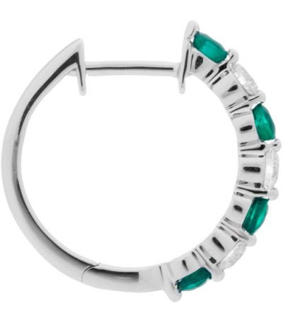 0.93 Carat Round Cut Emerald and Diamond Hoop Earrings 18Kt White Gold