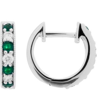 Earrings - 0.41 Carat Round Cut Emerald and Diamond Hoop Earrings 18Kt White Gold