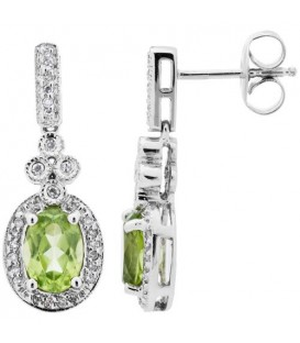 Earrings - 1.98 Carat Oval Cut Peridot and Diamond Earrings 14Kt White Gold