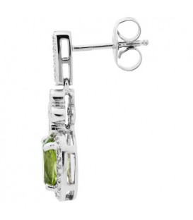 1.77 Carat Oval Cut Peridot and Diamond Earrings 14Kt White Gold