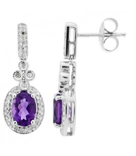 Earrings - 1.43 Carat Oval and Round Cut Amethyst and Diamond Earrings 14Kt White Gold