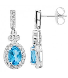 Earrings - 1.90 Carat Oval and Round Cut Blue Topaz and Diamond Earrings 14Kt White Gold