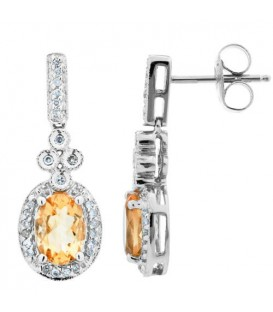 Earrings - 1.61 Carat Oval and Round Cut Citrine and Diamond Earrings 14Kt White Gold