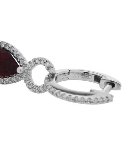 2.26 Carat Pear and Round Cut Garnet and Diamond Earrings 14Kt White Gold