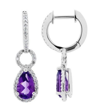 Earrings - 1.81 Carat Pear Cut Amethyst and Diamond Drop Huggie Earrings 14Kt White Gold