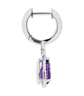 1.81 Carat Pear Cut Amethyst and Diamond Drop Huggie Earrings 14Kt White Gold