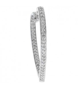 0.33 Carat Round Cut Diamond Hoop Earrings 14Kt White Gold