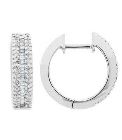 Earrings - 0.45 Carat Baguette and Round Cut Diamond Hoop Earrings 14Kt White Gold