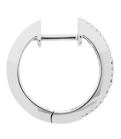 0.45 Carat Baguette and Round Cut Diamond Hoop Earrings 14Kt White Gold