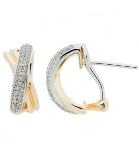 Earrings - 0.37 Carat Round Cut Diamond Earrings 14Kt Two-Tone Gold