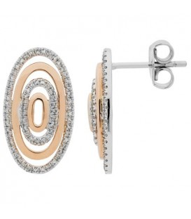 Earrings - 0.41 Carat Round Cut Diamond Earrings 14Kt Two-Tone Gold