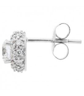 0.72 Carat Round Cut Diamond Stud Earrings 18Kt White Gold