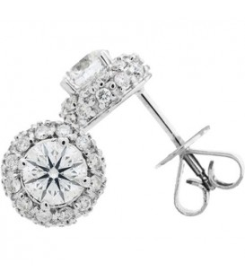 Earrings - 1.12 Carat Round Cut Diamond Stud Earrings 18Kt White Gold