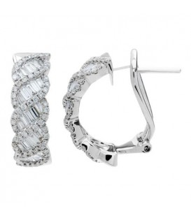 Earrings - 1.09 Carat Round and Baguette Cut Diamond Earrings 18Kt White Gold