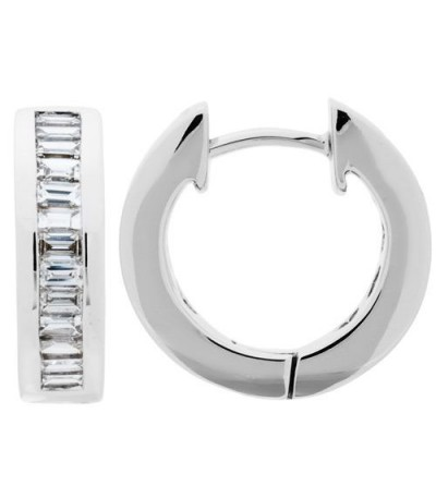 Earrings - 0.80 Carat Baguette Cut Diamond Hoop Earrings 18Kt White Gold