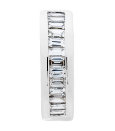 0.80 Carat Baguette Cut Diamond Hoop Earrings 18Kt White Gold