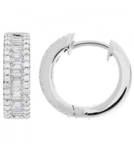 0.80 Carat Round and Baguette Cut Diamond Hoop Earrings 18Kt White Gold