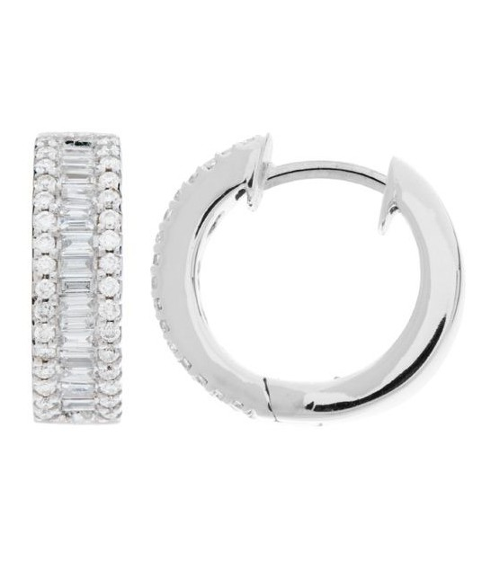 0 80 Carat Round And Baguette Cut Diamond Hoop Earrings 18kt White Gold