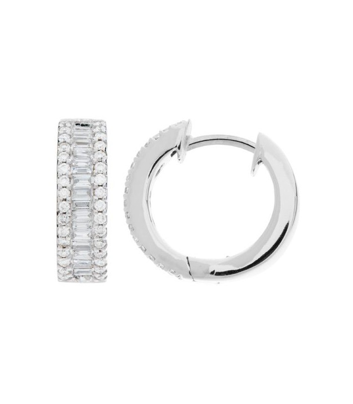 Earrings 0 80 Carat Round And Baguette Cut Diamond Hoop 18kt White Gold