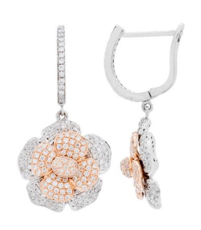 Earrings - 1.37 Carat Round Cut Diamond Earrings 18Kt White and Rose Gold