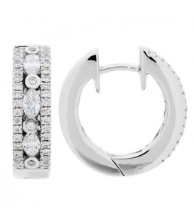 Earrings - 0.60 Carat Marquise Cut Diamond Hoop Earrings 18Kt White Gold