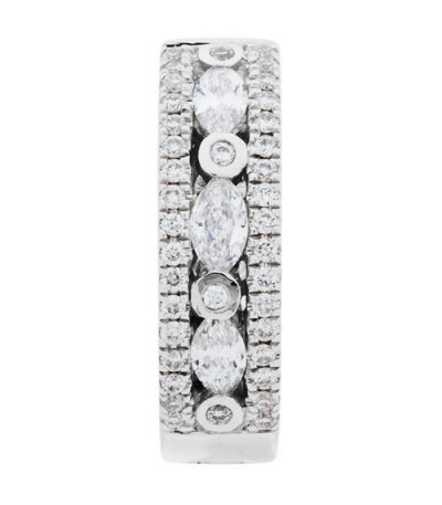 0.60 Carat Marquise Cut Diamond Hoop Earrings 18Kt White Gold