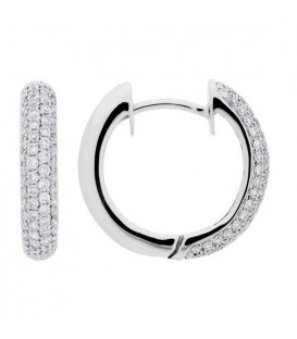 Earrings - 0.68 Carat Round Cut Diamond Hoop Earrings 18Kt White Gold