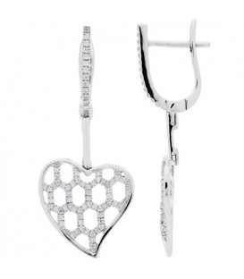 More about 0.30 Carat Round Cut Diamond Heart Drop Earrings 18Kt White Gold