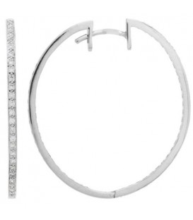 Earrings - 0.48 Carat Round Cut Diamond Hoop Earrings 18Kt White Gold
