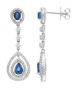 Earrings - 4.46 Carat Oval and Pear Cut Sapphire and Diamond Earrings 18Kt White Gold