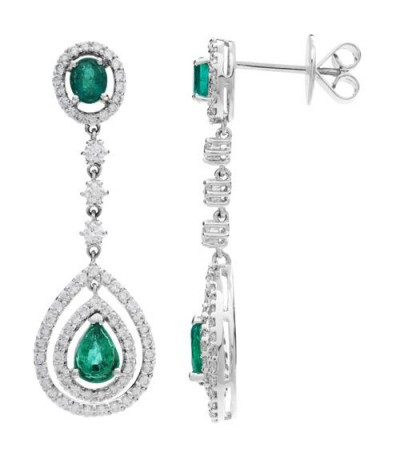 Earrings - 3.75 Carat Oval and Pear Cut Emerald and Diamond Earrings 18Kt White Gold