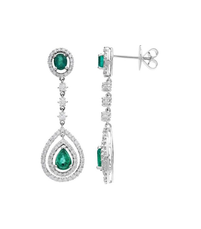 Oval Amp Pear Cut 3 75ct Emerald Amp Diamond Earrings 18kt Amoro