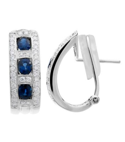 Earrings - 2.18 Carat Round Cut Sapphire and Diamond Earrings 18Kt White Gold