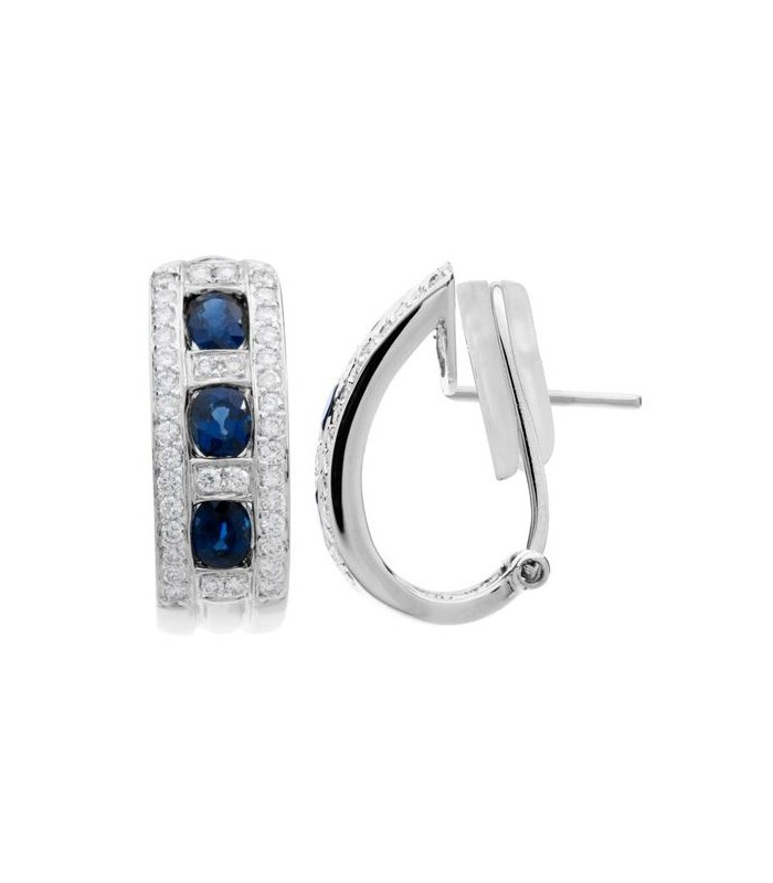a3887a56b15a5 2.18 Carat Round Cut Sapphire and Diamond Earrings 18Kt White Gold