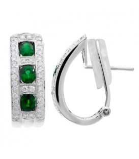 Earrings - 1.78 Carat Round Cut Emerald and Diamond Earrings 18Kt White Gold