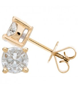 Earrings - 0.54 Carat Invisibly Set Diamond Earrings 18Kt Yellow Gold