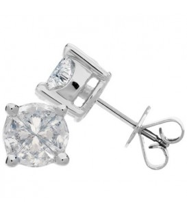 1.52 Carat Invisibly Set Diamond Earrings 18Kt White Gold