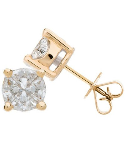Earrings - 1.52 Carat Invisibly Set Diamond Earrings 18Kt Yellow Gold