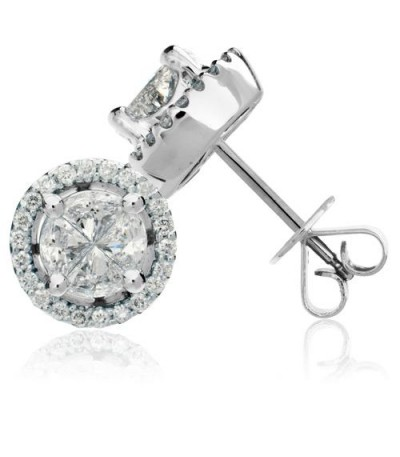 Earrings - 1.76 Carat Invisibly Set Diamond Earrings 18Kt White Gold