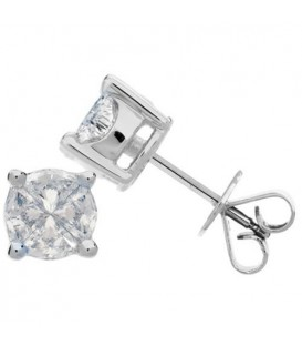 Earrings - 1.04 Carat Invisibly Set Diamond Earrings 18Kt White Gold