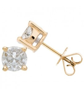 1.03 Carat Invisibly Set Diamond Earrings 18Kt Yellow Gold