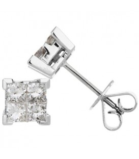 1.09 Carat Invisibly Set Diamond Earrings 18Kt White Gold