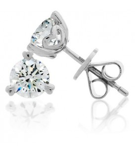 Earrings - 1 Carat Round Brilliant Diamond Earrings 18Kt White Gold